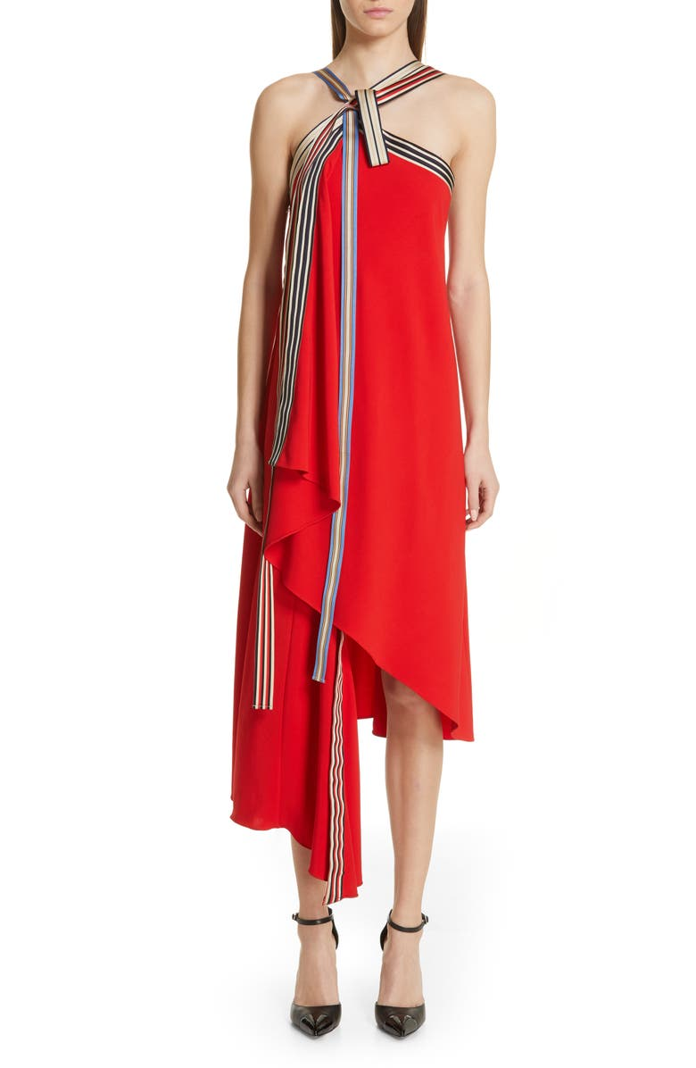 MONSE Grosgrain Tie Neck Asymmetrical Midi Dress, Main, color, RED