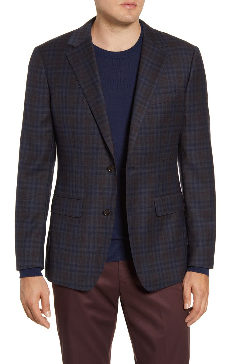 BONOBOS Jetsetter Slim Fit Stretch Plaid Wool Sport Coat, Main, color, 200