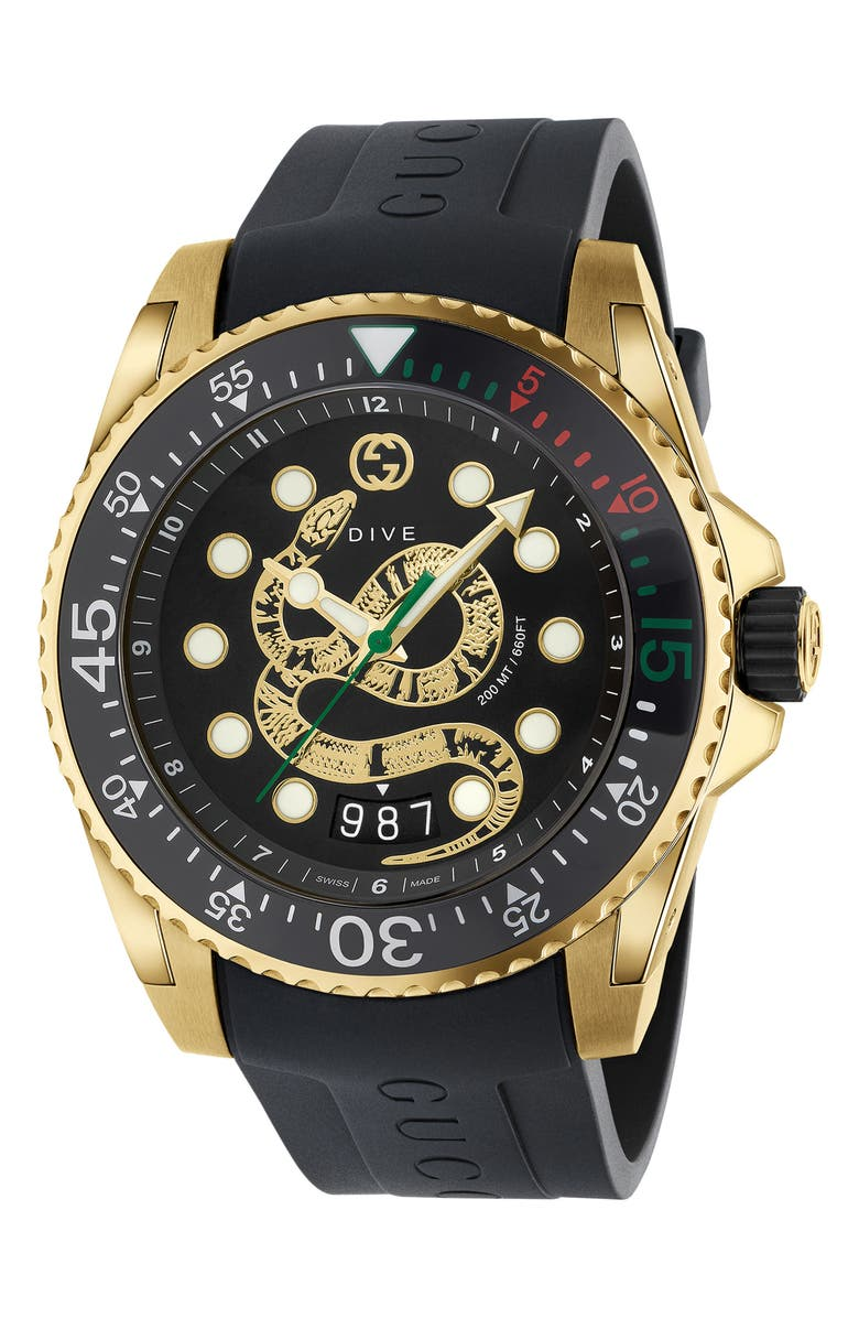 GUCCI Dive Snake Rubber Strap Watch, 45mm, Main, color, BLACK/ GOLD