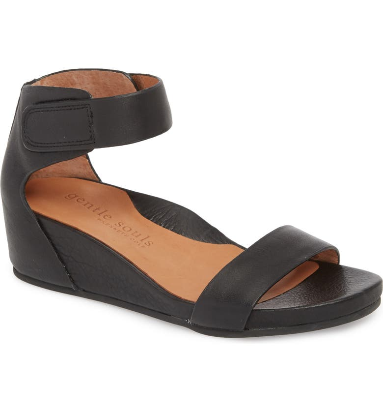 GENTLE SOULS SIGNATURE Gianna Wedge Sandal, Main, color, BLACK LEATHERDNU