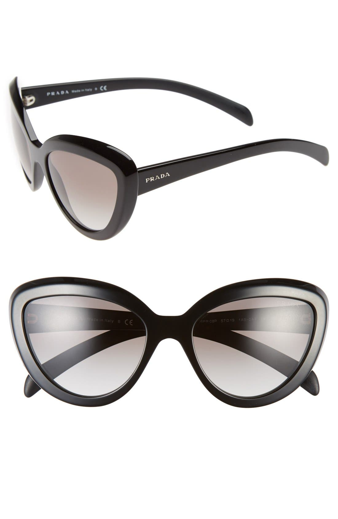 ,                             57mm Cat Eye Sunglasses,                             Main thumbnail 1, color,                             001
