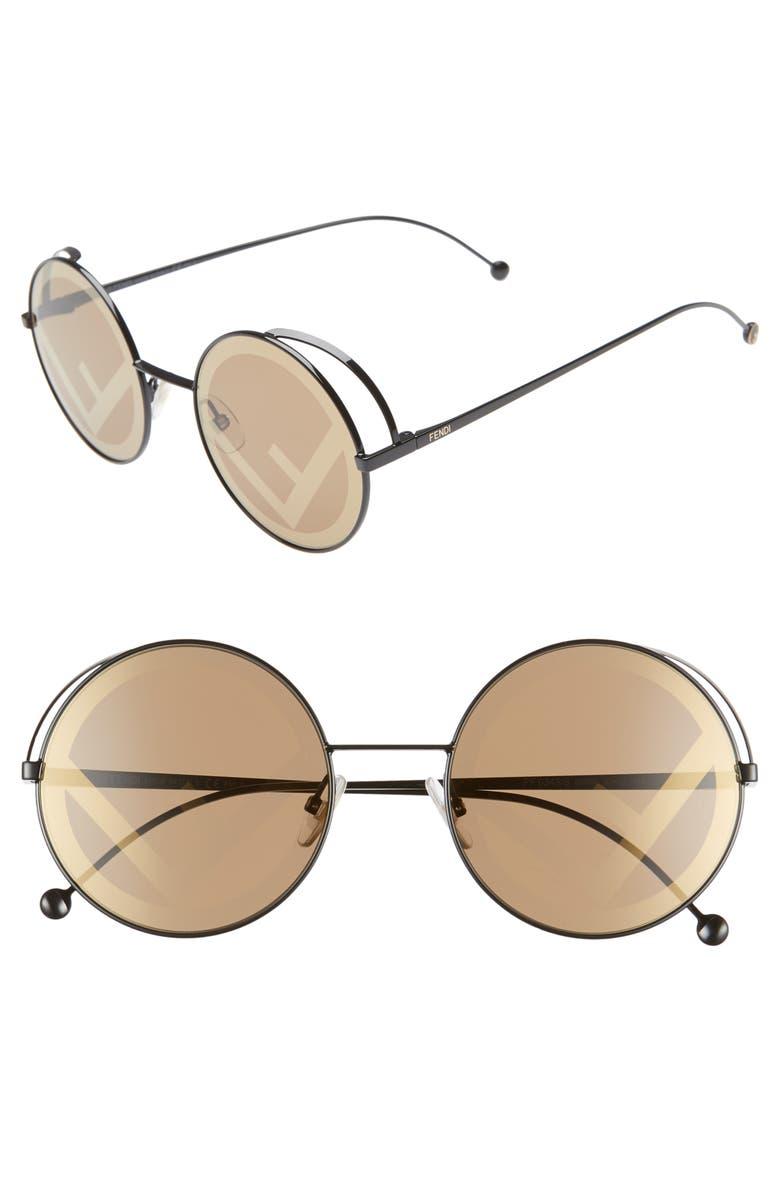 FENDI 53mm Lenticular Round Sunglasses, Main, color, 001