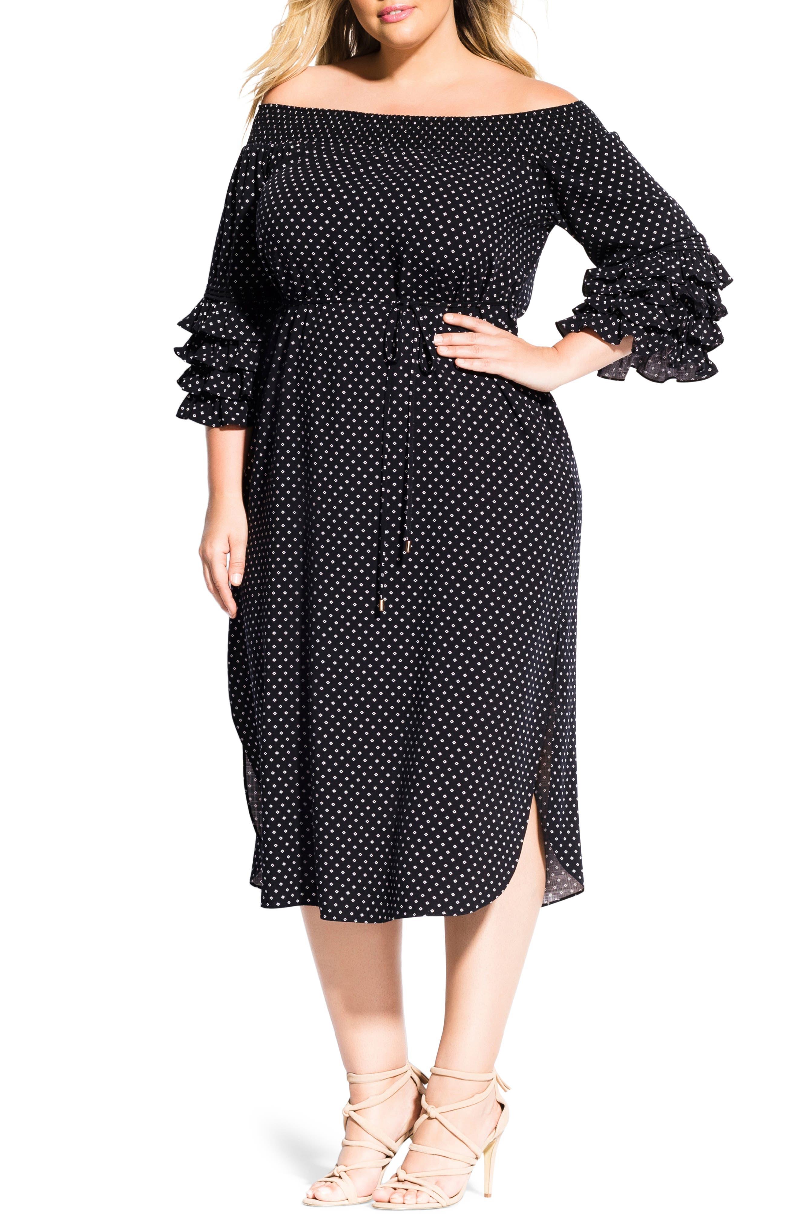Plus Size City Chic Polka Dot Off The Shoulder Dress, Black