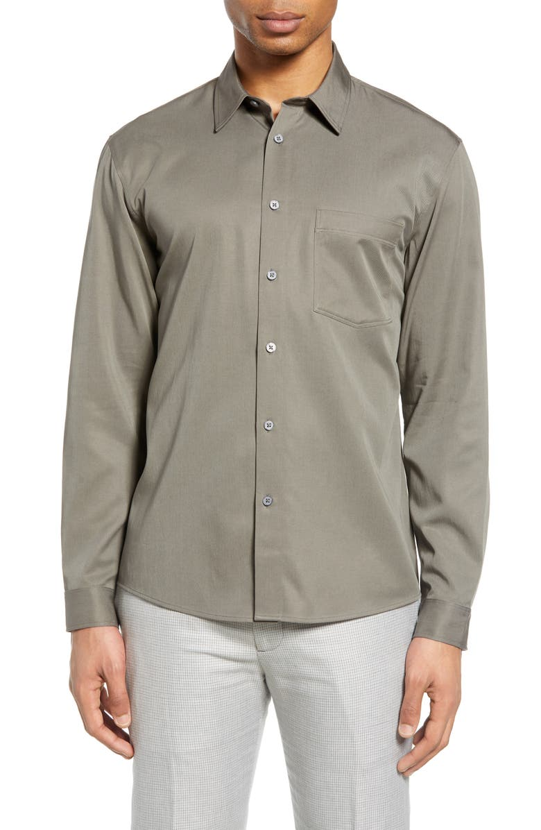 CLUB MONACO Solid Button-Up Shirt, Main, color, 050