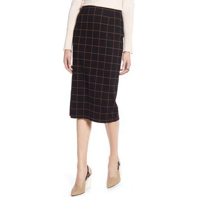 Halogen Windowpane Ponte Pencil Skirt, Black