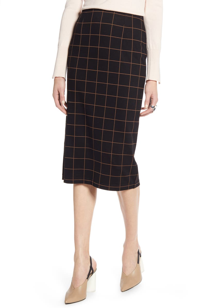 HALOGEN<SUP>®</SUP> Windowpane Ponte Pencil Skirt, Main, color, 001