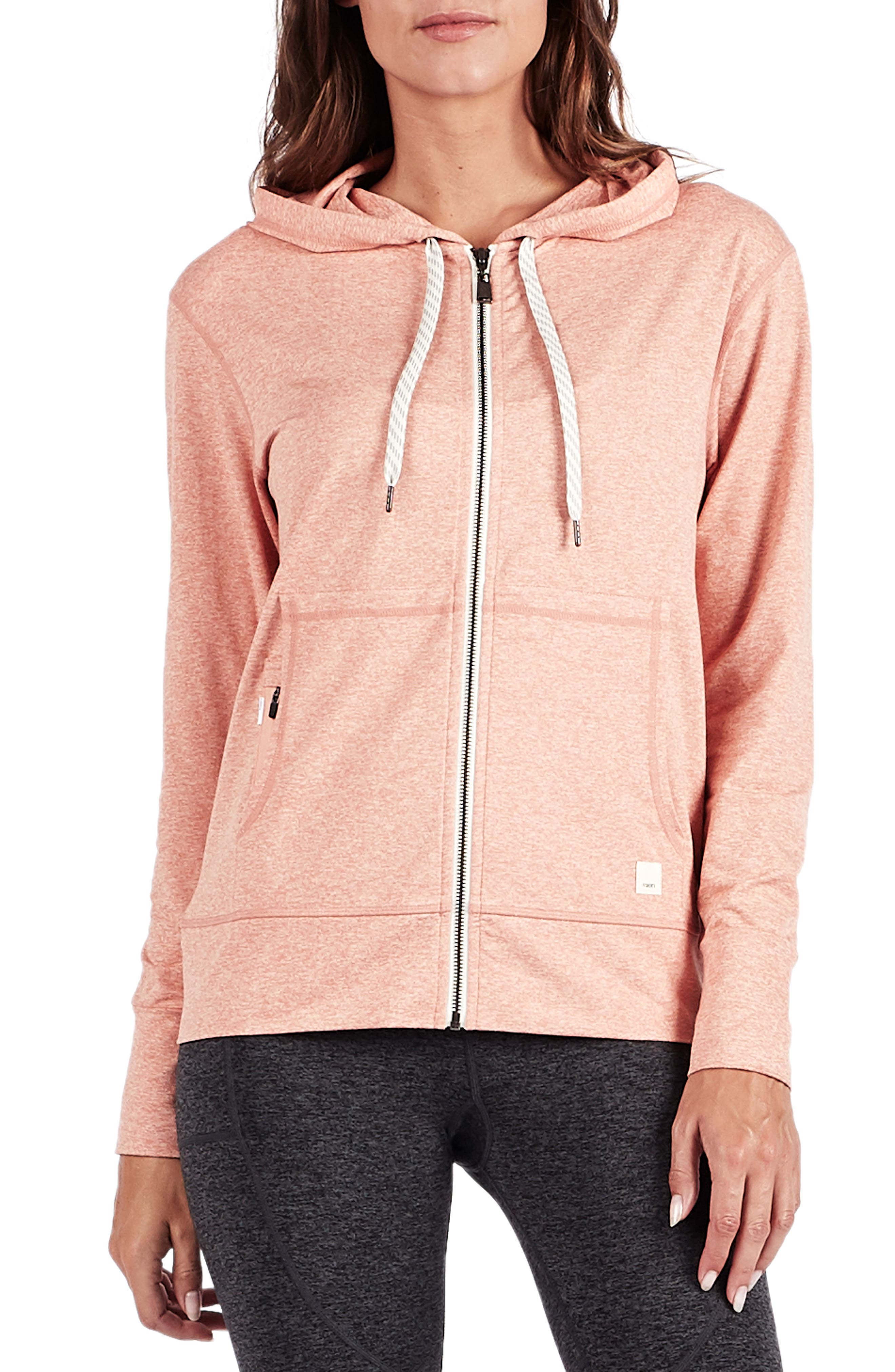 Vuori Performance Zip Front Hoodie, Orange