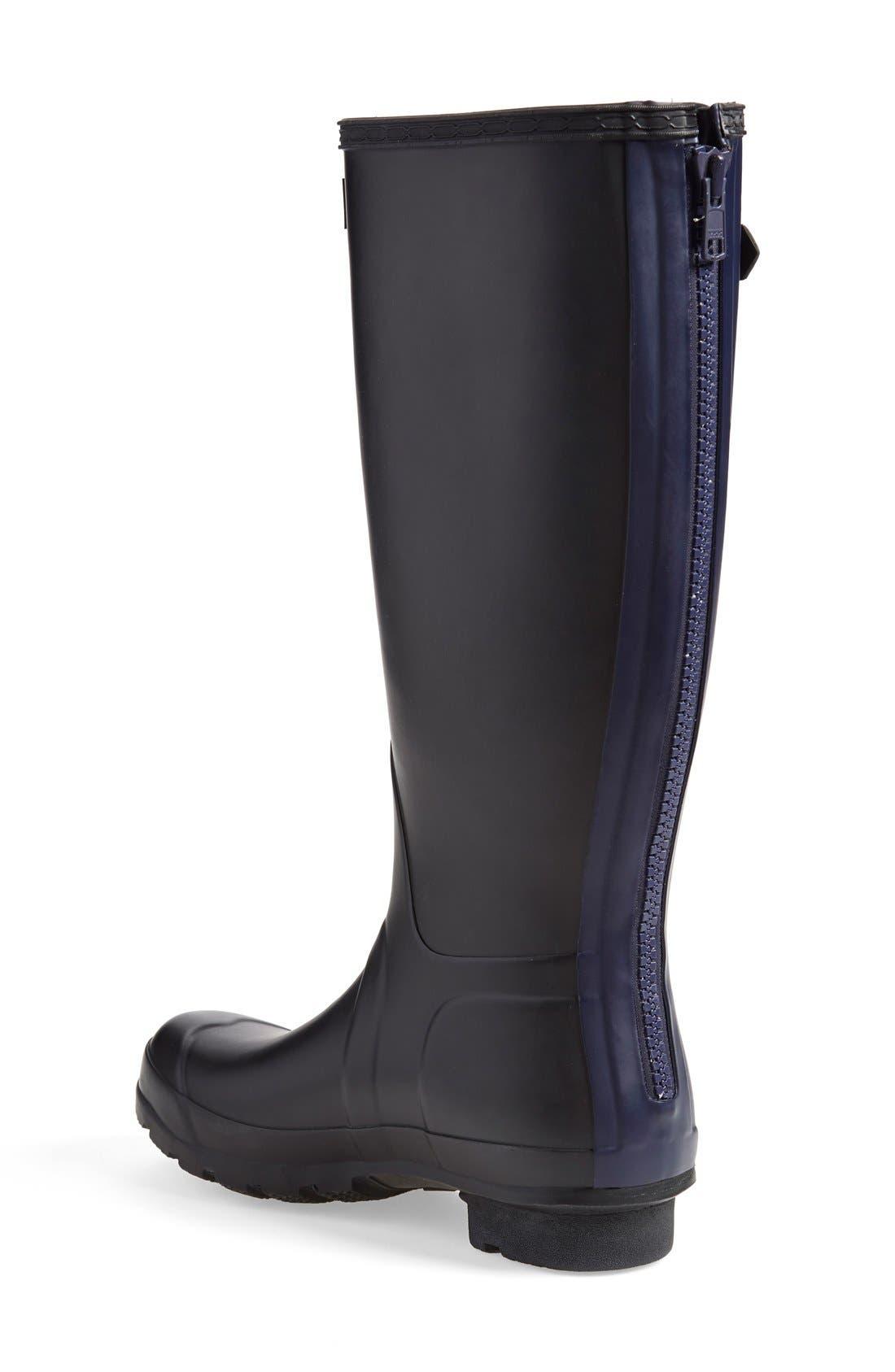 ,                             'Tall' Back Zip Rain Boot,                             Alternate thumbnail 3, color,                             001