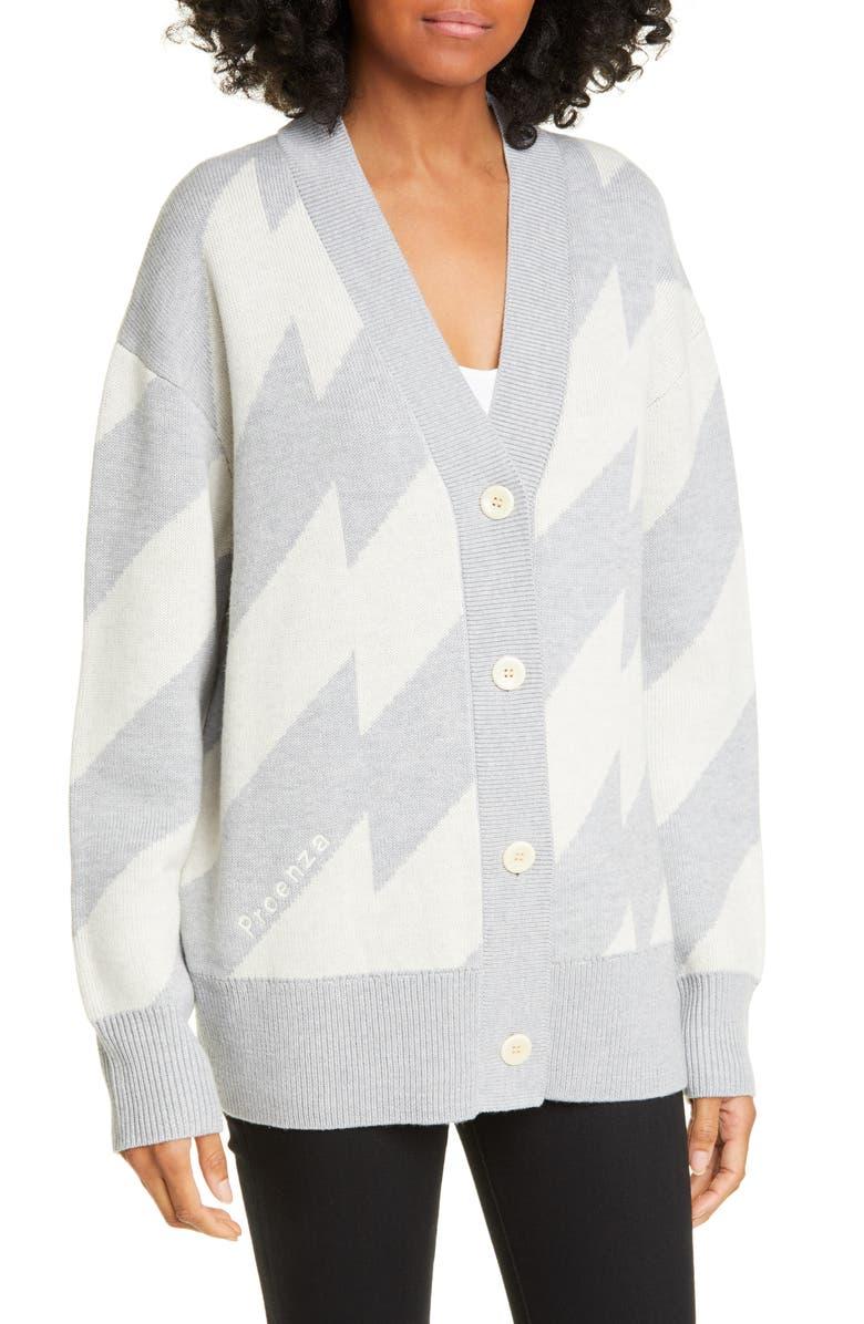 PROENZA SCHOULER WHITE LABEL Proenza Schouler PSWL Glitch Jacquard Merino Wool Blend Cardigan, Main, color, ECRU