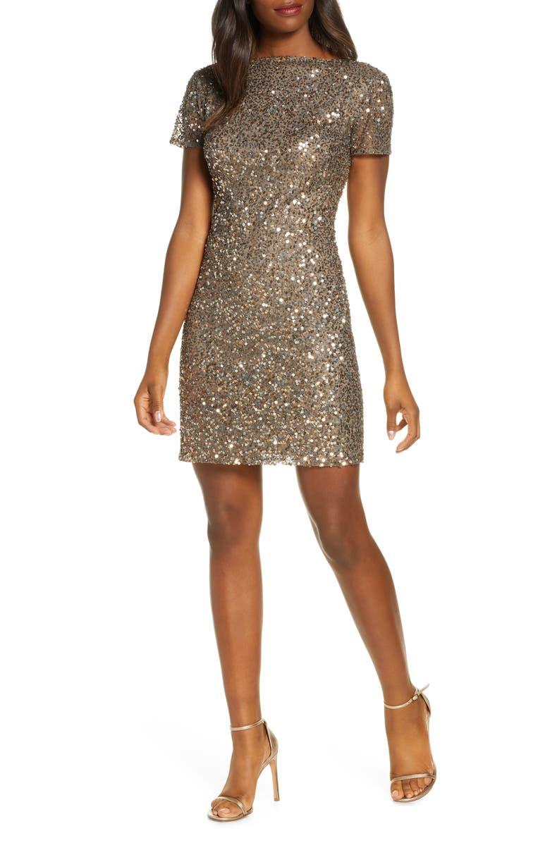 PISARRO NIGHTS Embellished Sheath Dress, Main, color, MOCHA