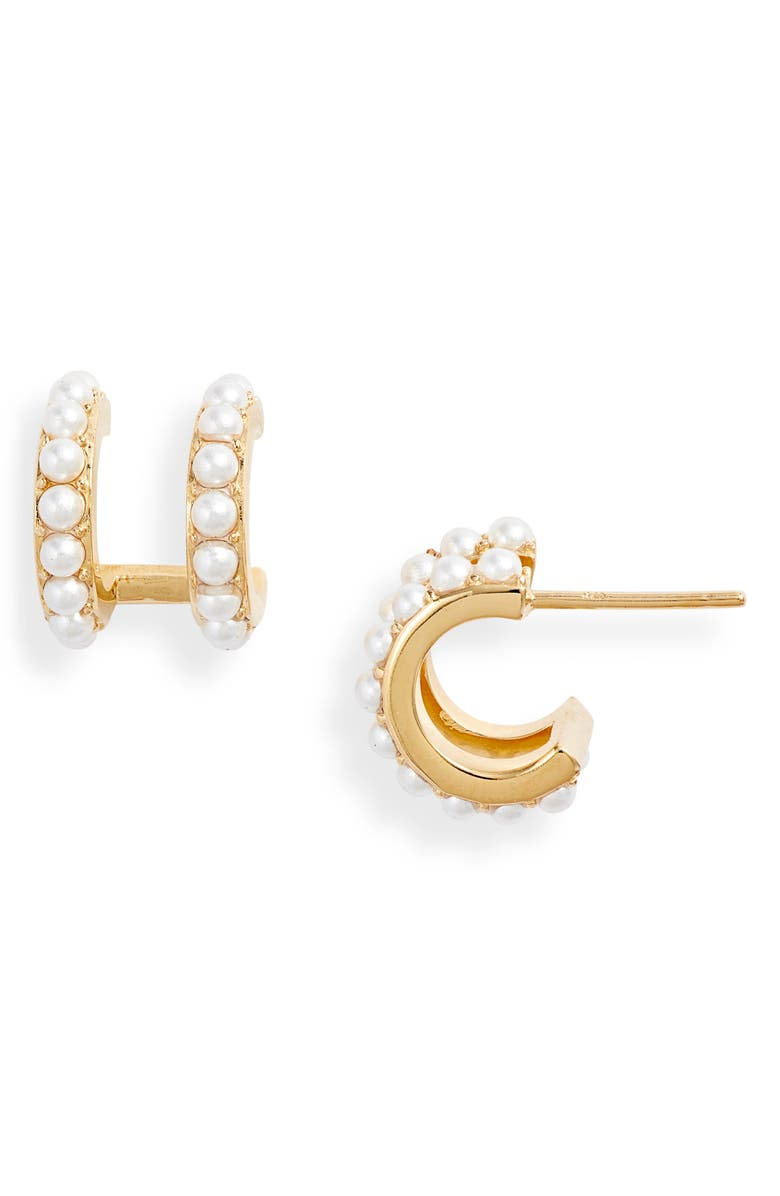 ADINA'S JEWELS Double Imitation Pearl Huggie Earrings, Main, color, 710