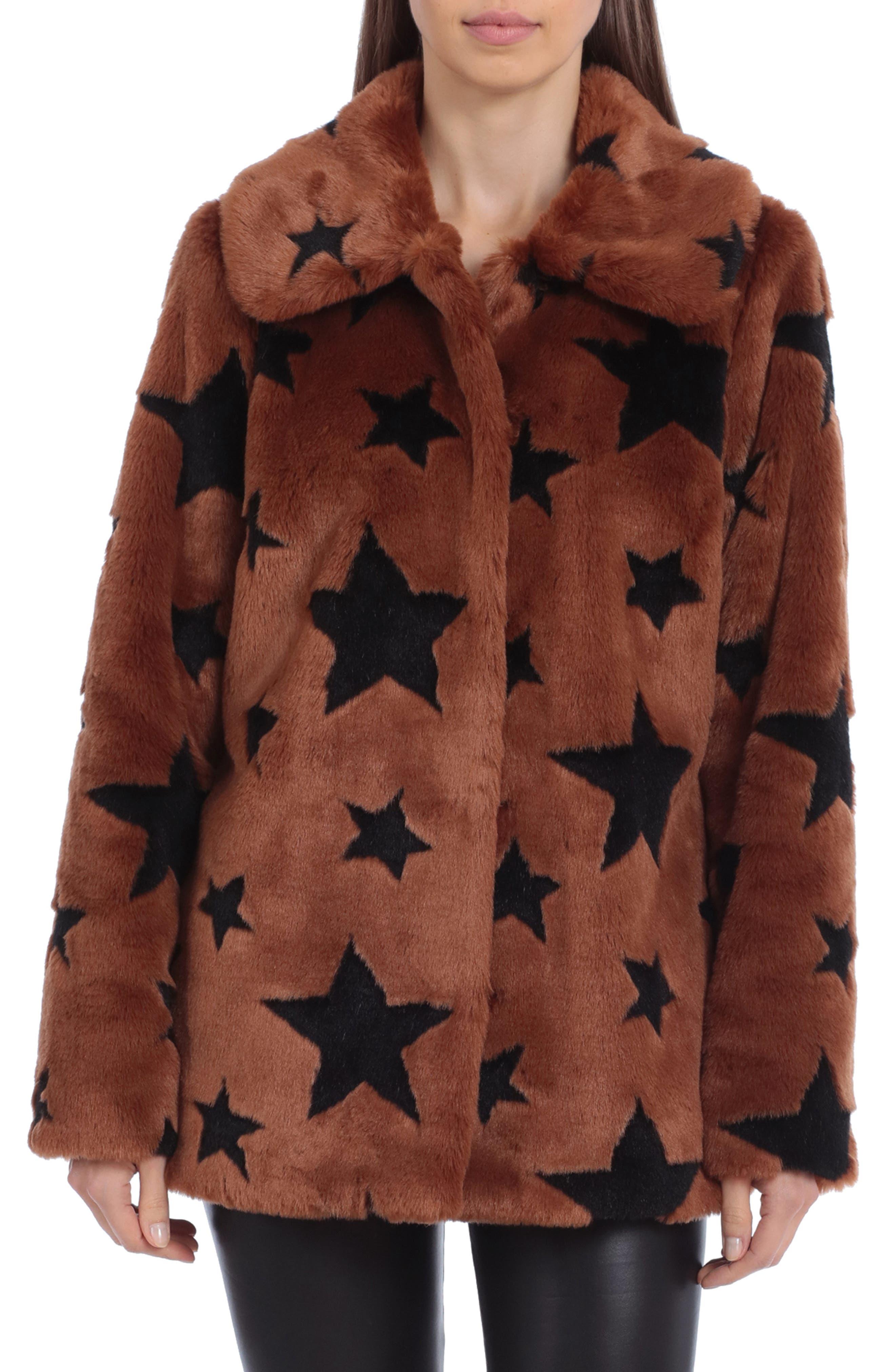 Star Print Faux Fur Coat