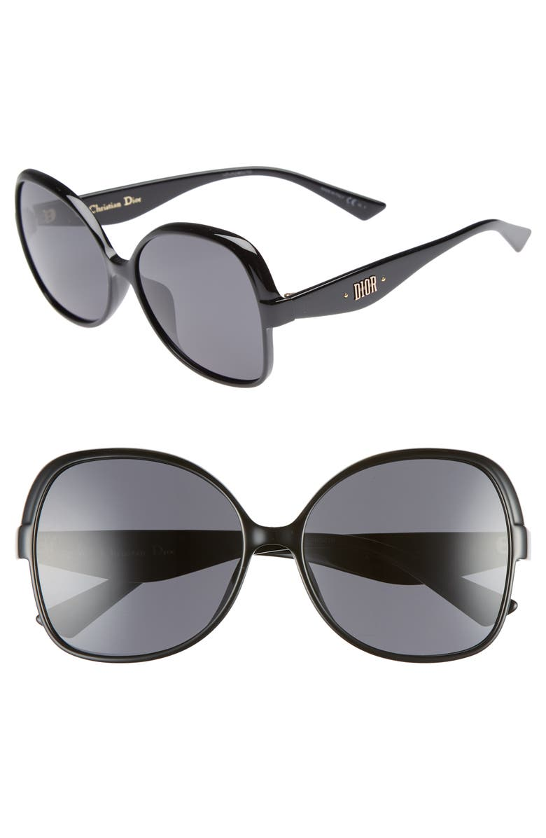 DIOR Nuance F 60mm Sunglasses, Main, color, 001