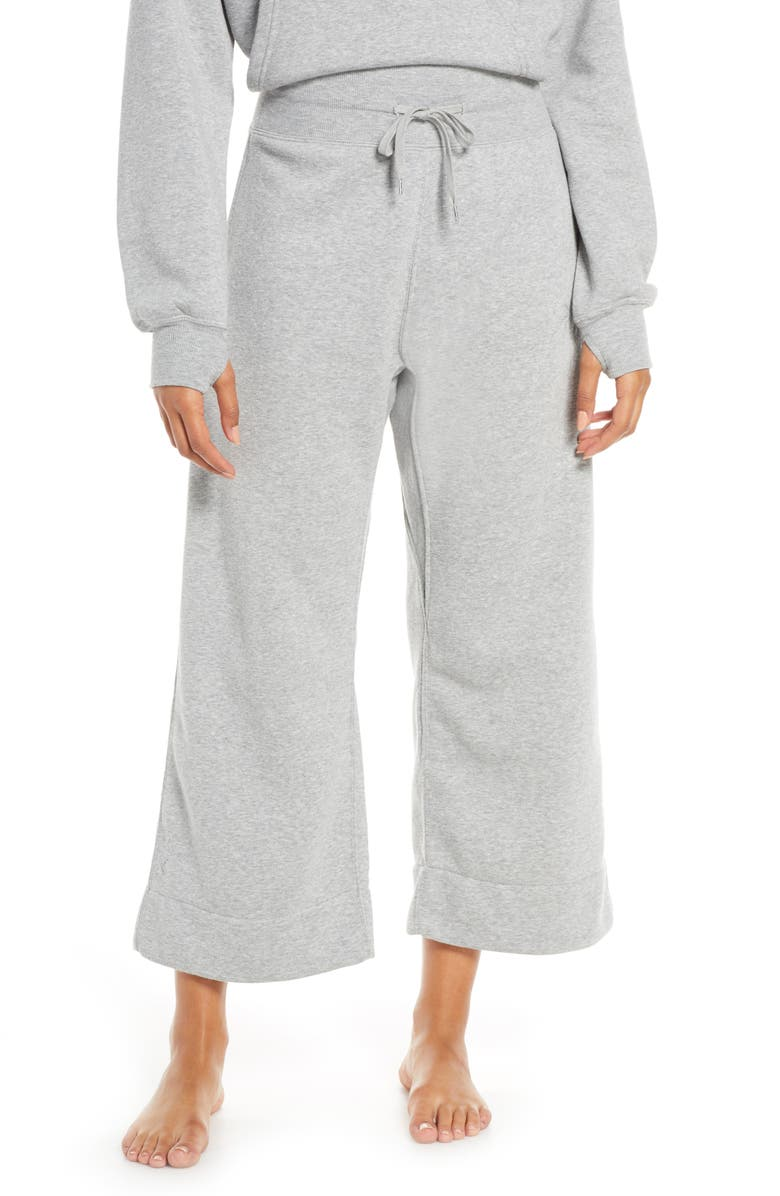 RAGDOLL Crop Wide Leg French Terry Lounge Sweatpants, Main, color, 020