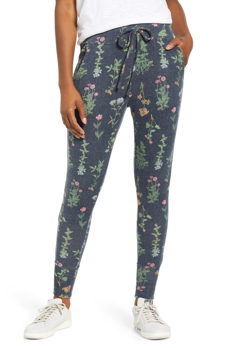 BOBEAU Cozy Joggers, Main, color, NAVY FLORAL