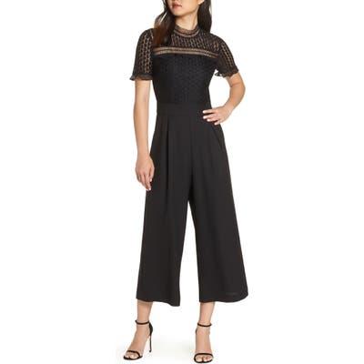 Petite Chelsea28 Lace Cropped Jumpsuit, Black