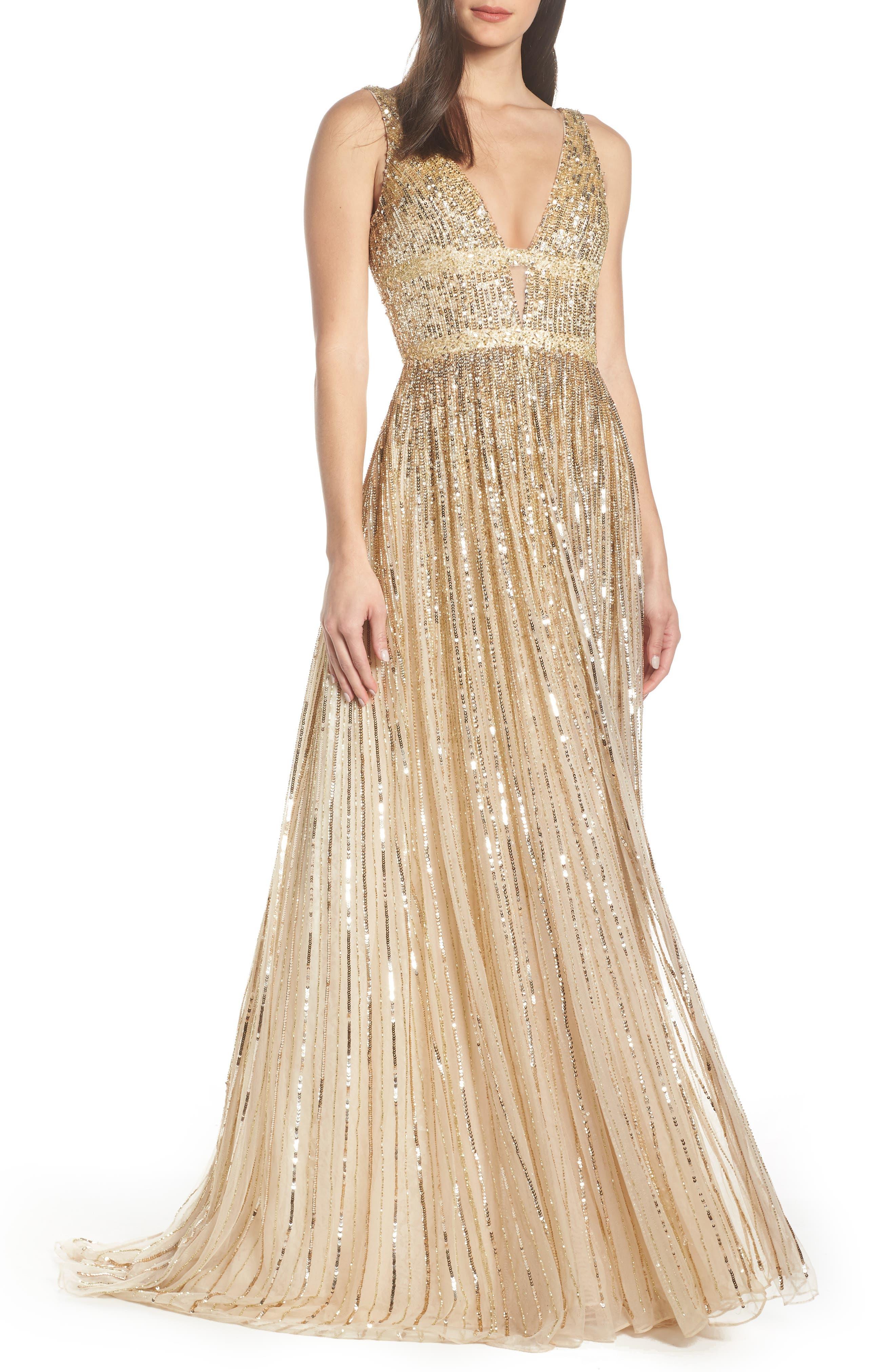 MAC Duggal Deep V-Neck Sequin Stripe Gown, Metallic