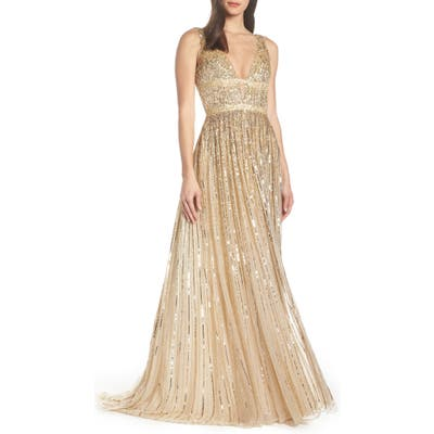MAC Duggal Deep V-Neck Sequin Stripe Gown, Metallic