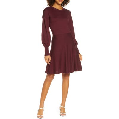 French Connection Orla Fit & Flare Sweater Dress, Burgundy