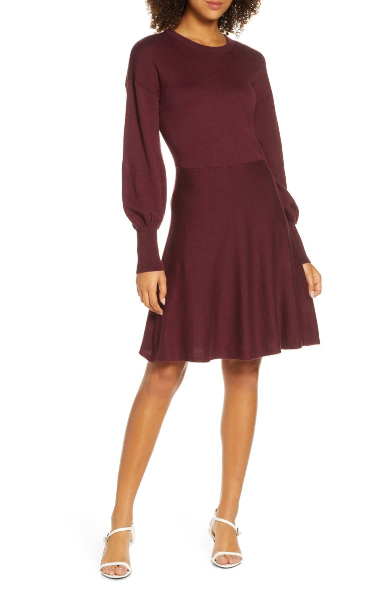 FRENCH CONNECTION Orla Fit & Flare Sweater Dress, Main, color, EVENING WINE