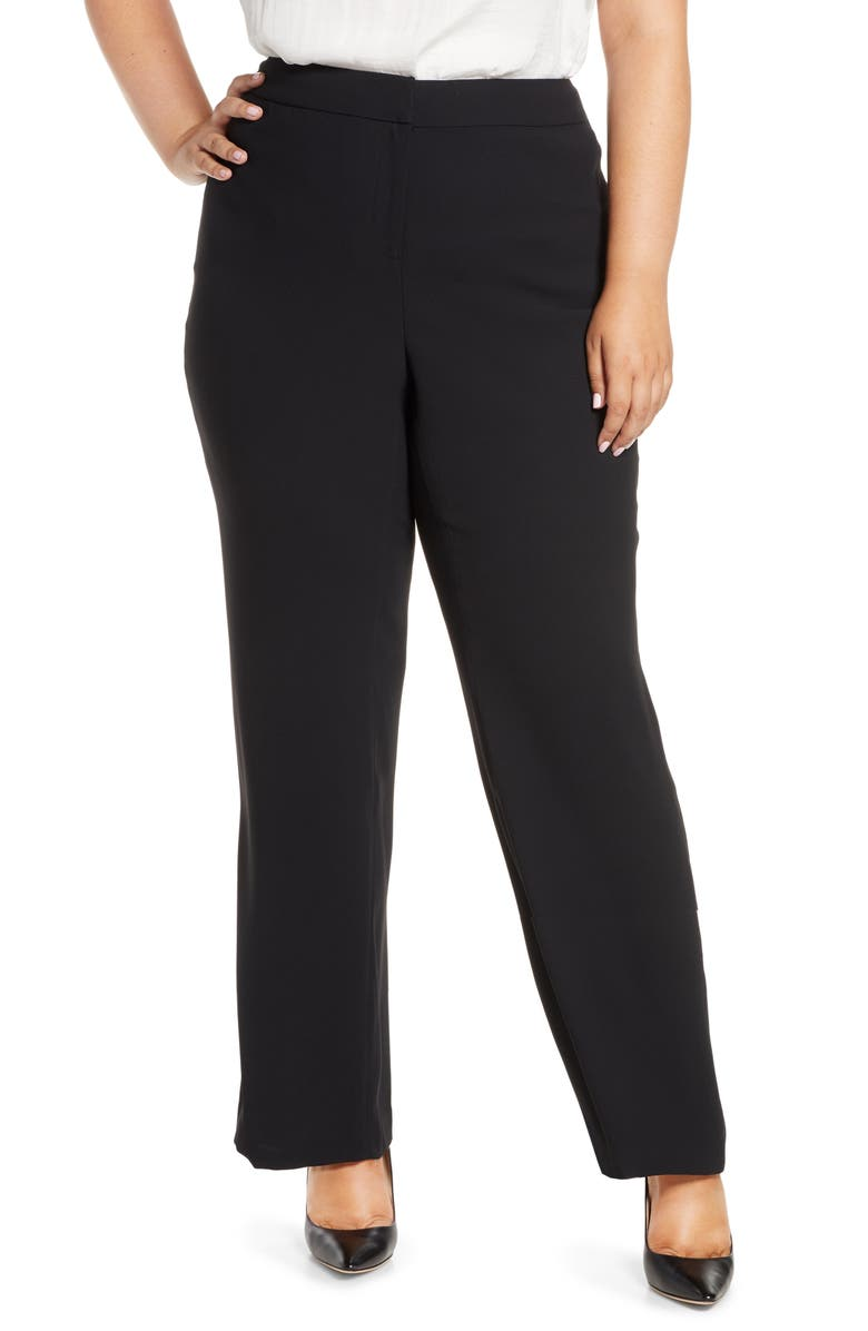 VINCE CAMUTO Moss Crepe Trousers, Main, color, RICH BLACK