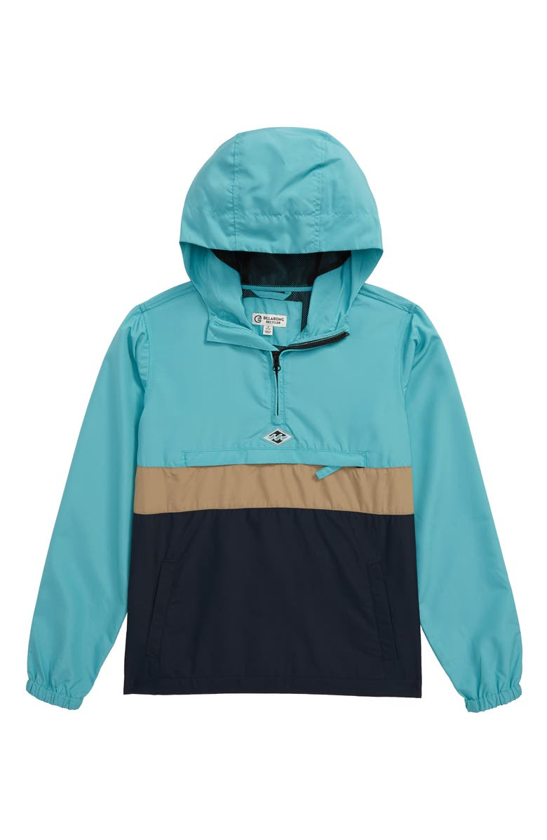 BILLABONG Wind Swell Recycled Polyester Blend Hooded Anorak, Main, color, BERMUDA