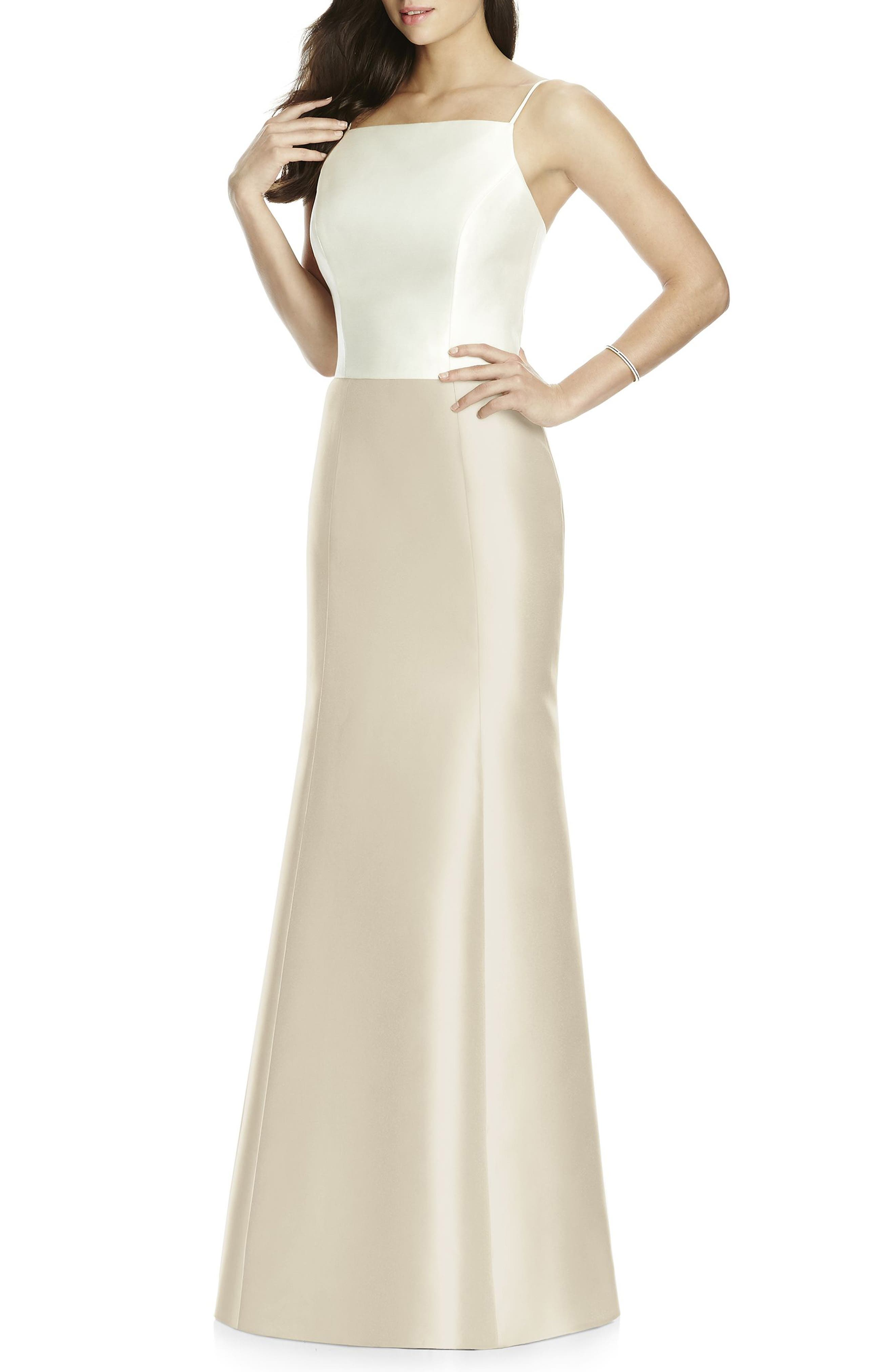1960s Evening Dresses, Bridesmaids, Mothers Gowns Womens Dessy Collection Sateen Twill Mermaid Skirt Size 10 - Beige $136.00 AT vintagedancer.com