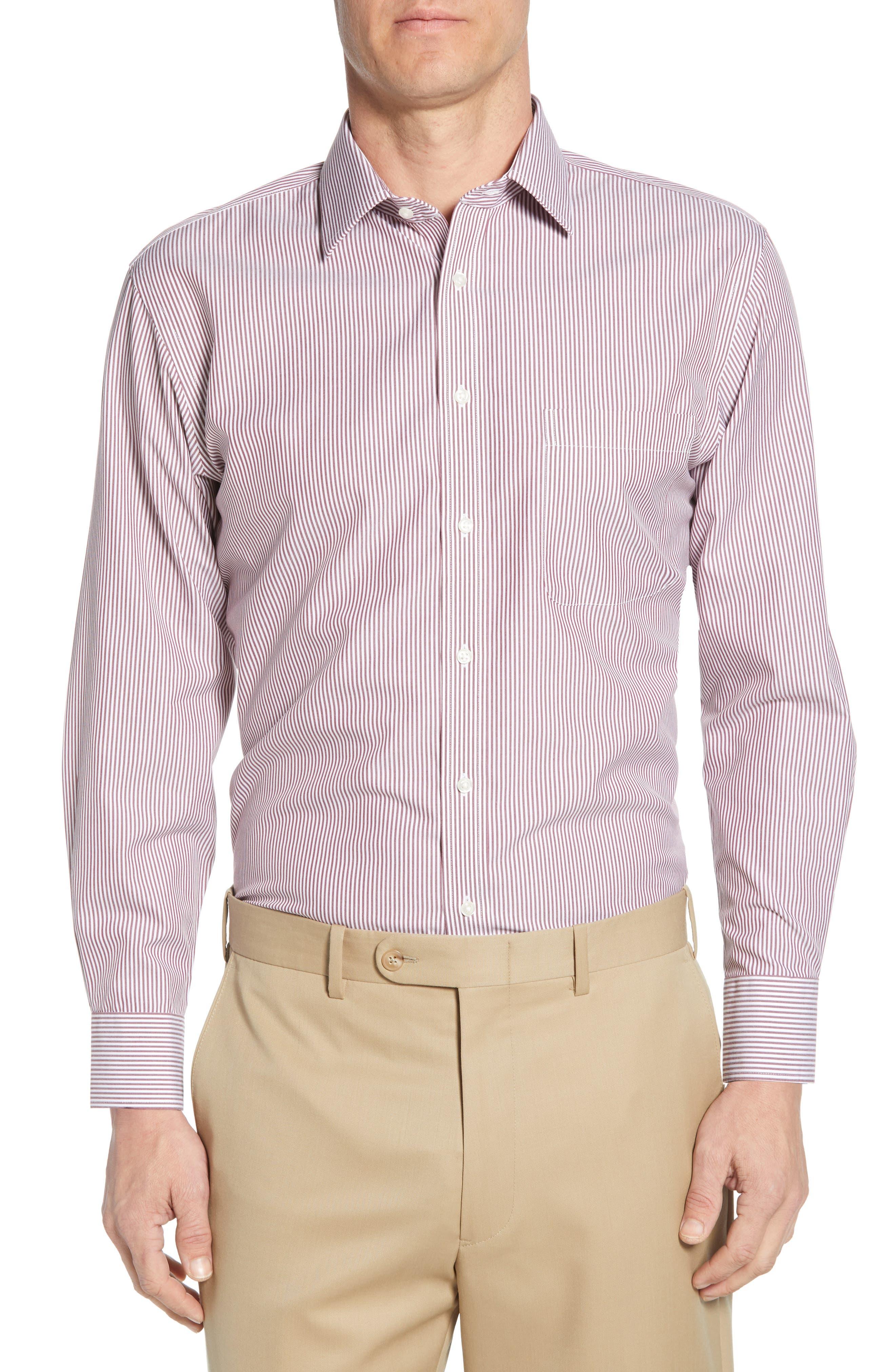 Nordstrom Shop Smartcare(TM) Traditional Fit Stripe Dress Shirt, Red