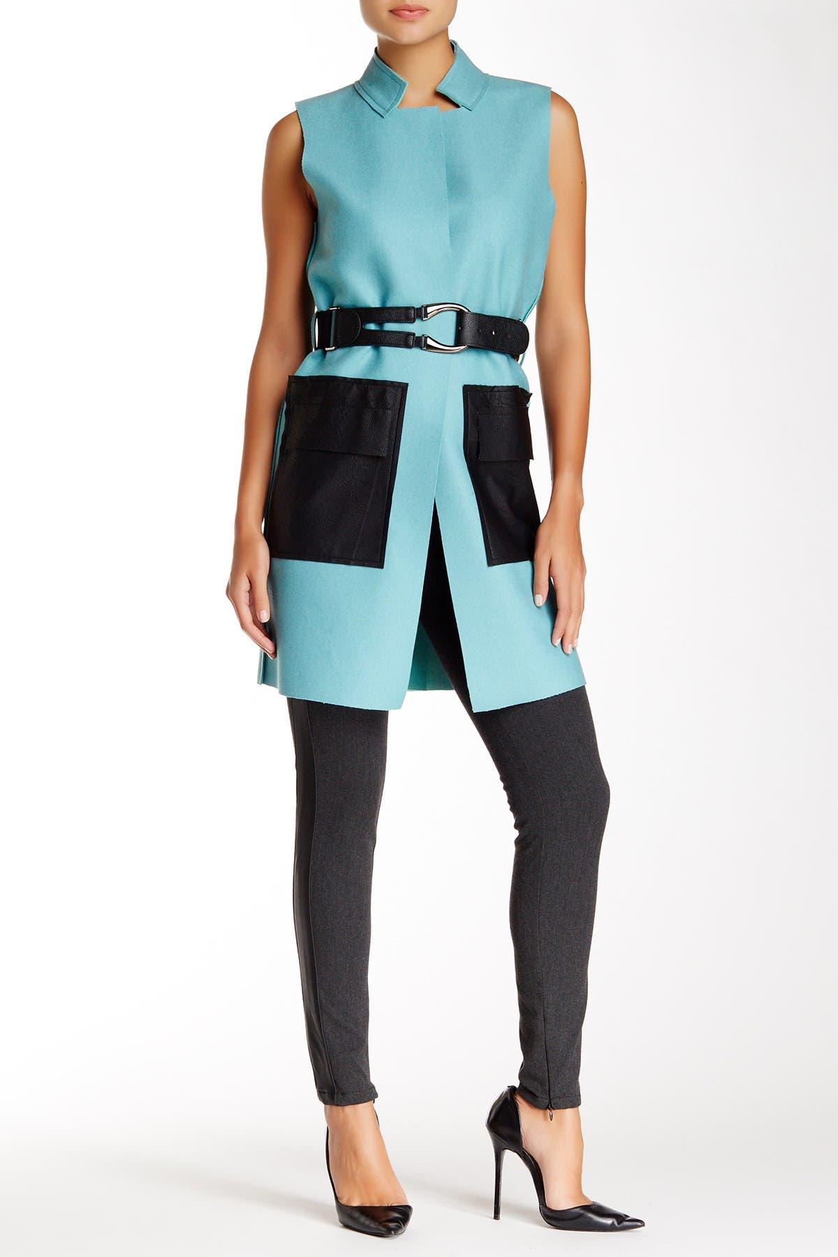 Image of Gracia Faux Leather Trim Wool Blend Longline Vest