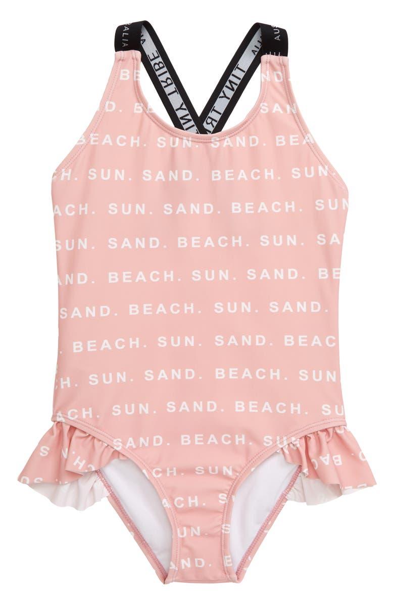 TINY TRIBE Beach, Sun & Sand One-Piece Swimsuit, Main, color, 650