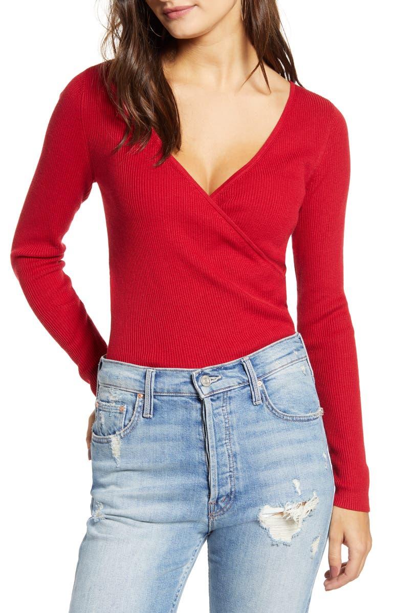 LEITH Rib Wrap Sweater, Main, color, 601