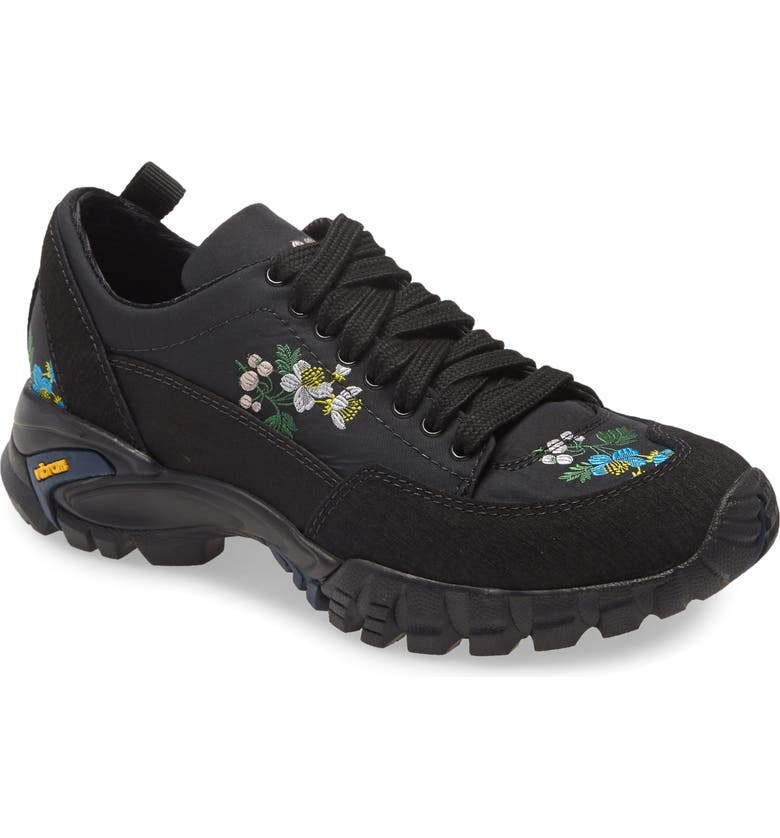 CECILIE BAHNSEN Max Floral Embroidered Hiking Sneaker, Main, color, BLACK/ MULTI
