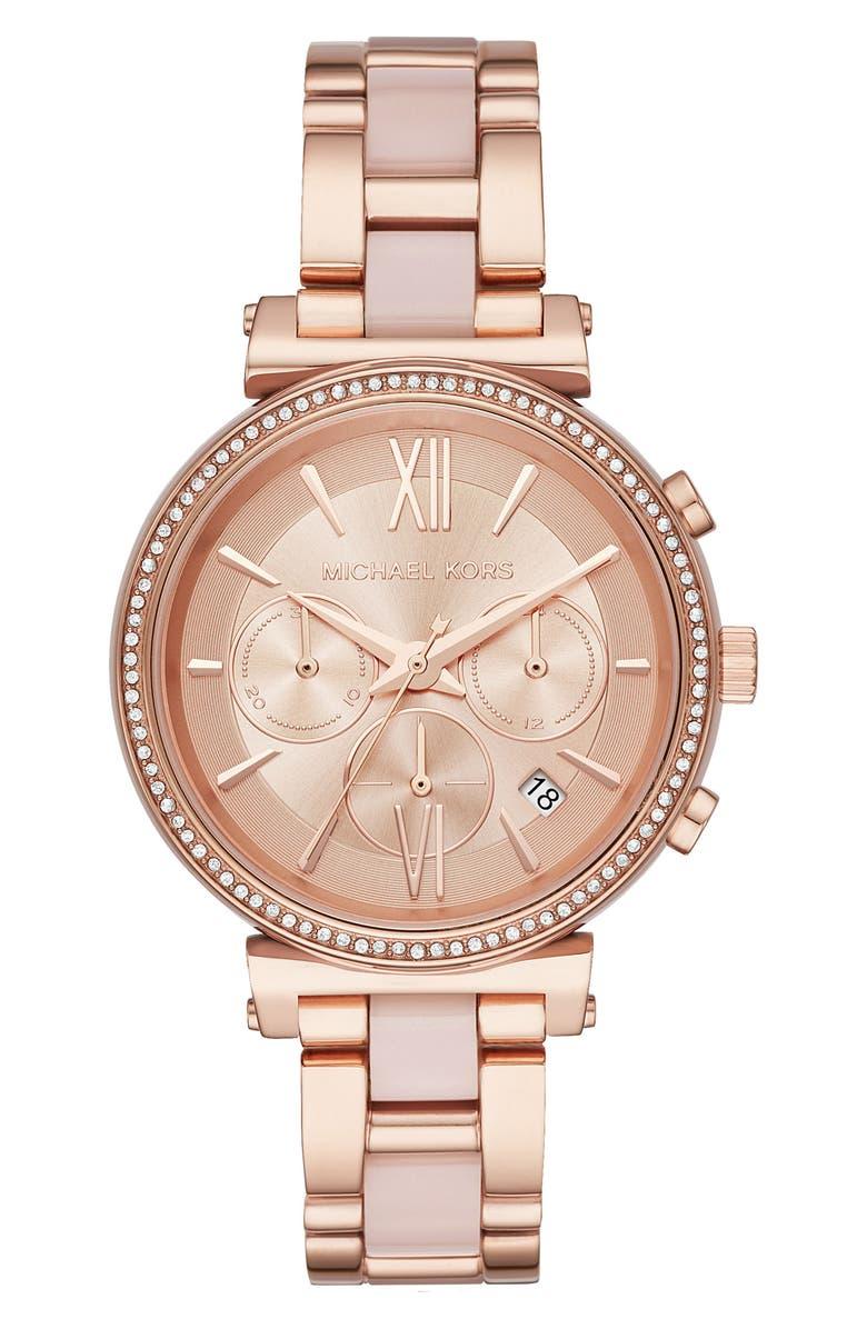 MICHAEL KORS Sofie Chronograph Bracelet Watch, 39mm, Main, color, 710