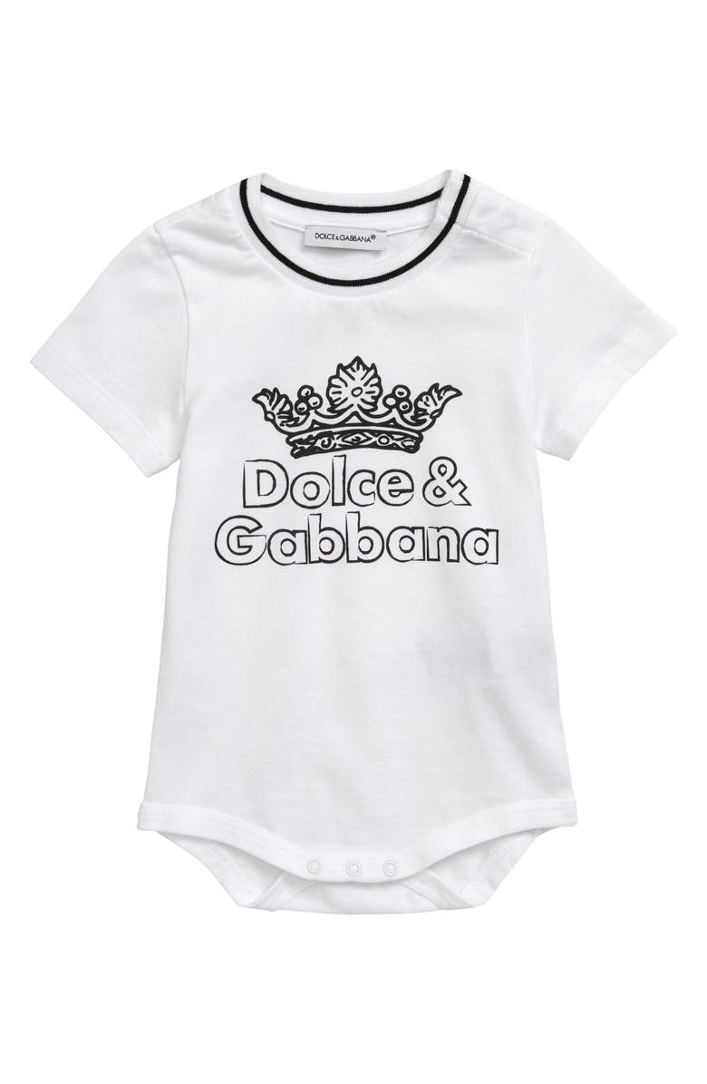 DOLCE&GABBANA Logo Bodysuit, Main, color, WHITE PRINT
