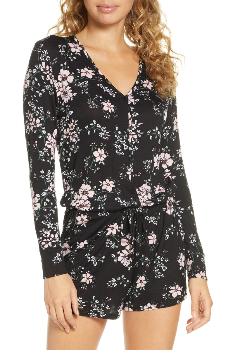 HONEYDEW INTIMATES All American Long Sleeve Lounge Romper, Main, color, 005