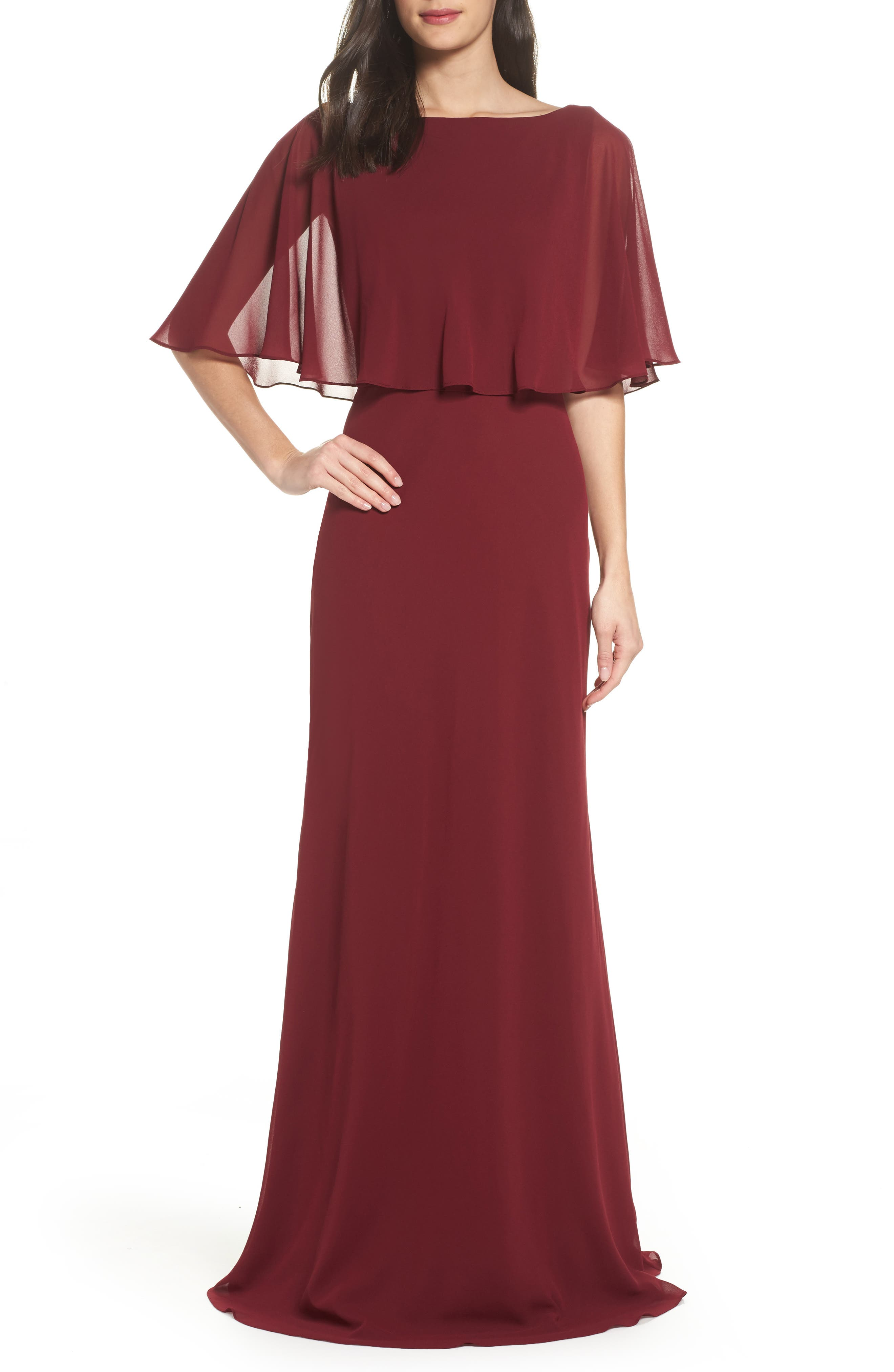 La Femme Popover Chiffon Gown, Red