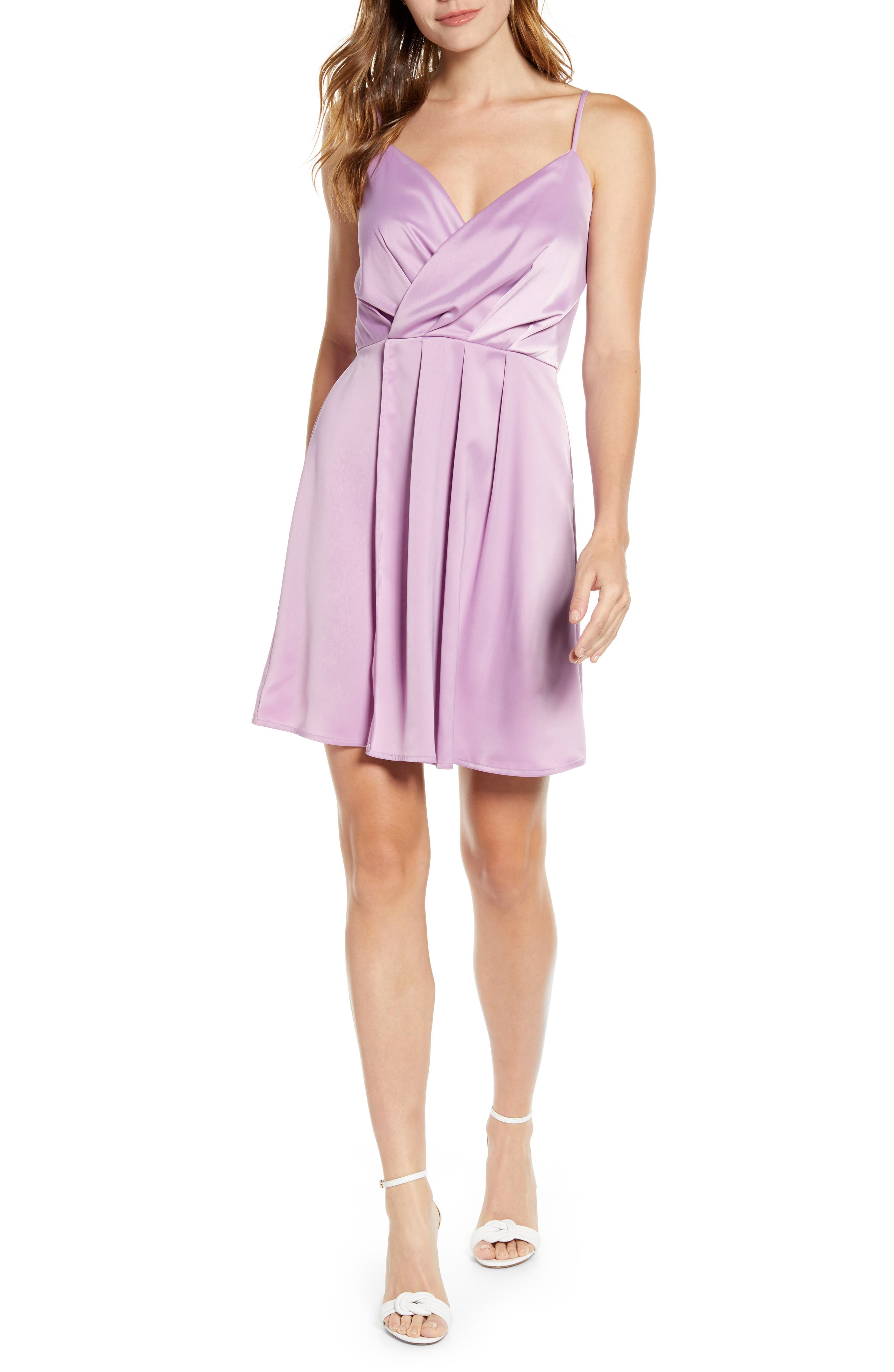 Petite Gibson X Hot Summer Nights Natalie Satin Faux Wrap Dress, Pink (Regular & Petite) (Nordstrom Exclusive)
