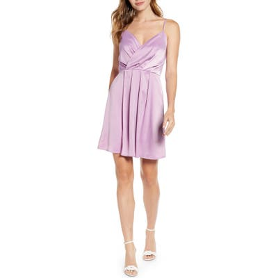 Petite Gibson X Hot Summer Nights Natalie Satin Faux Wrap Minidress, Pink (Regular & Petite) (Nordstrom Exclusive)