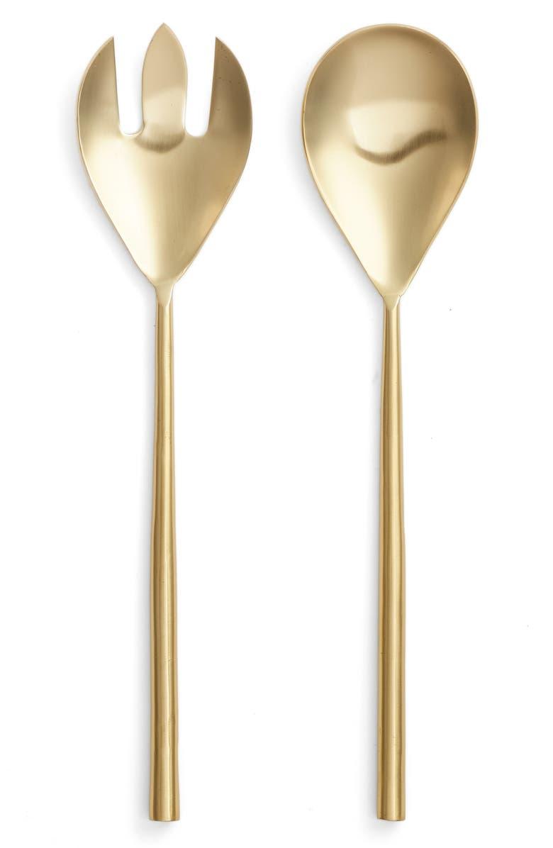 NORDSTROM Golden 2-Piece Salad Serving Set, Main, color, GOLD