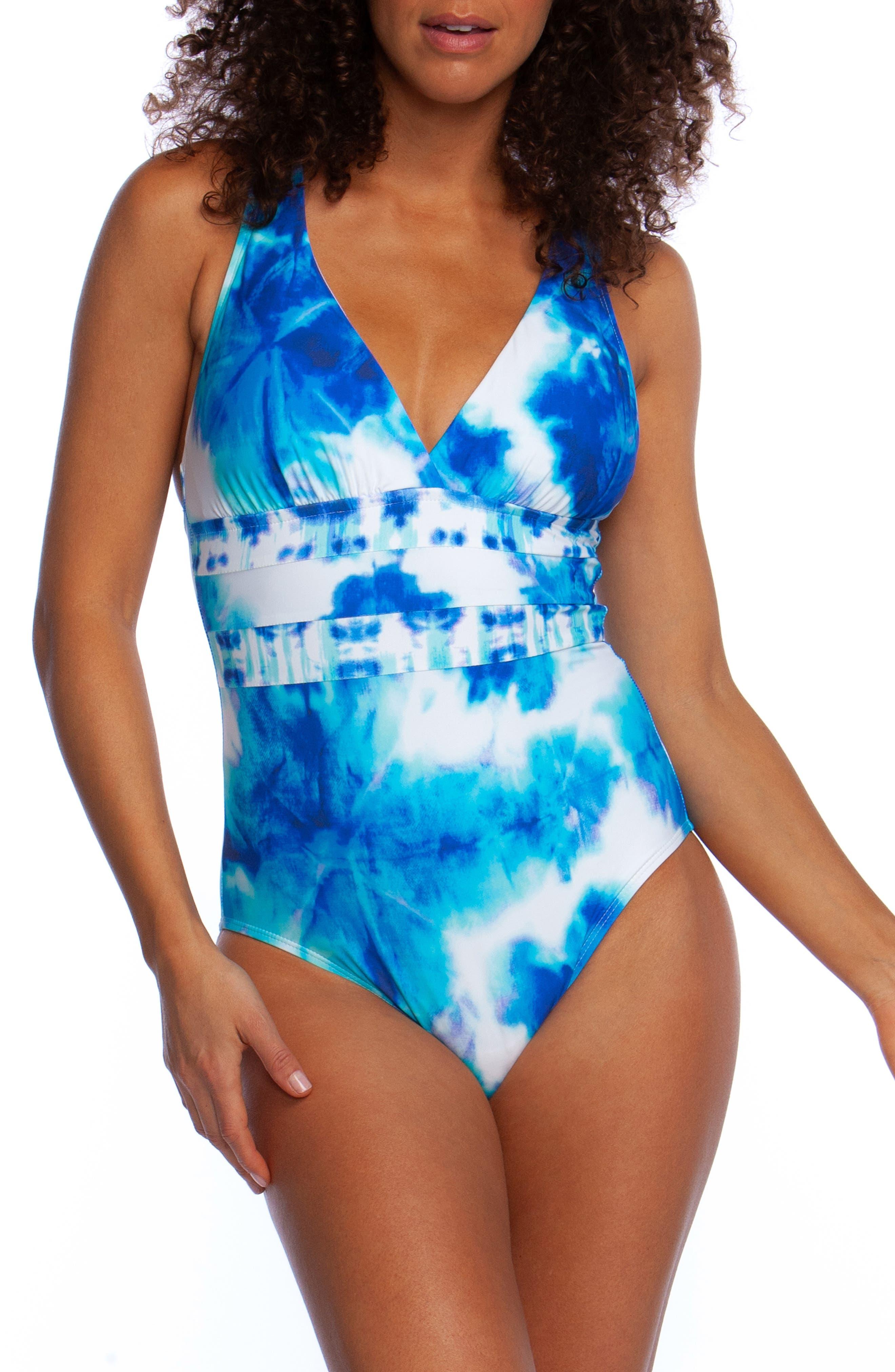 La Blanca Glow Cross Back One-Piece Swimsuit, Blue