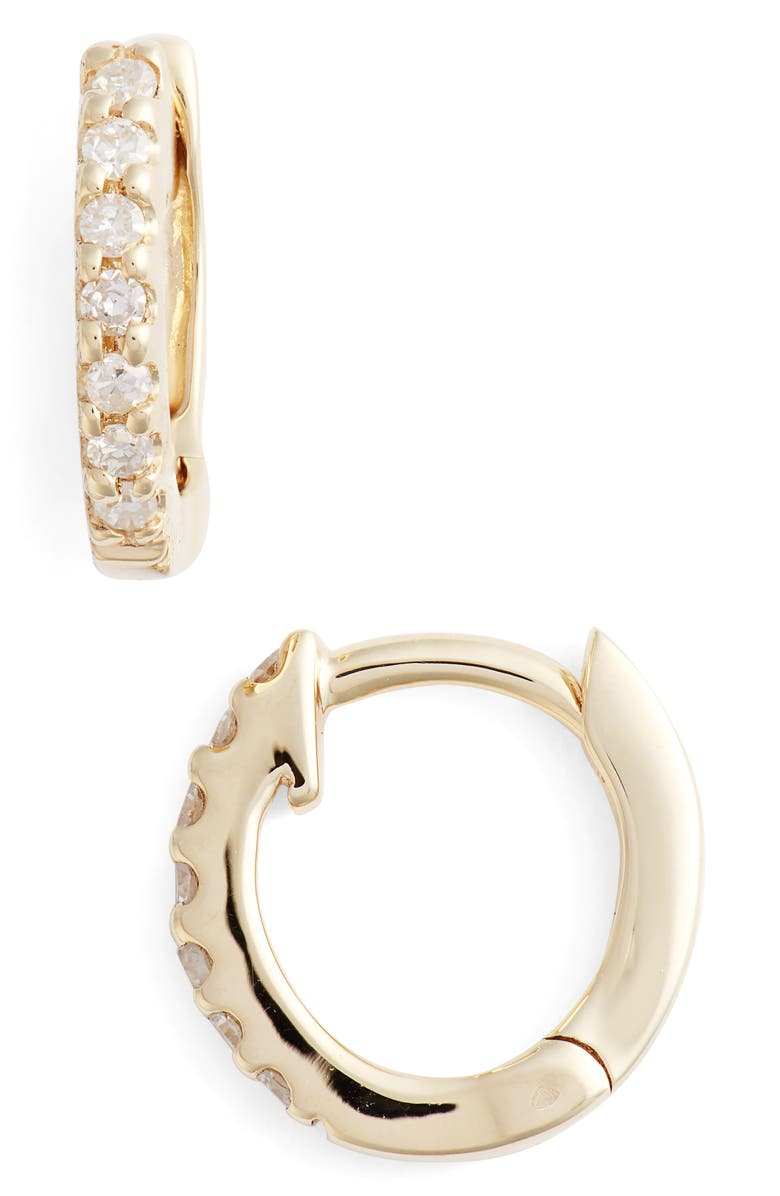 DANA REBECCA DESIGNS Mini Diamond Huggie Hoop Earrings, Main, color, YELLOW GOLD