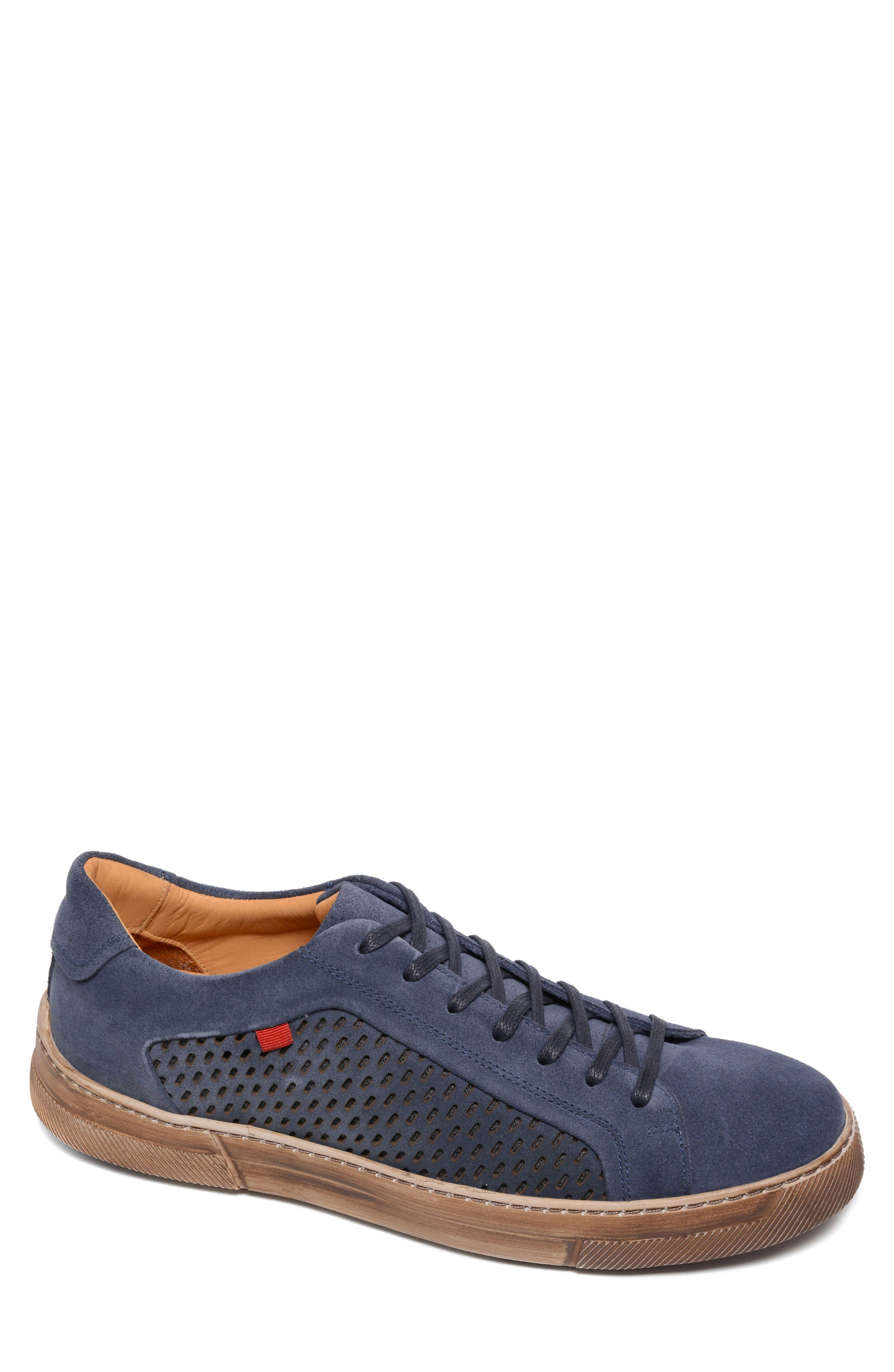 A well-worn sole adds a vintage tinge to a stylish sneaker handcrafted from creamy suede. Style Name: Marc Joseph New York Oliver Place Sneaker (Men). Style Number: 6135189. Available in stores.