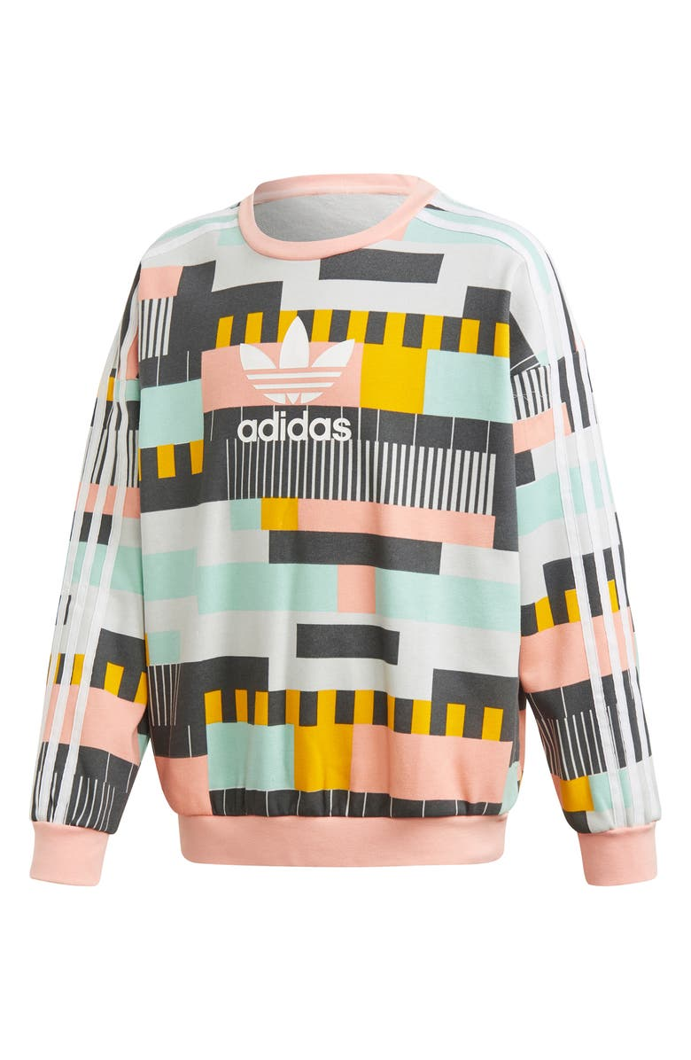 ADIDAS Crewneck French Terry Sweatshirt, Main, color, MULTCO/ WHITE