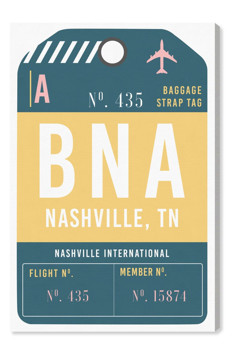 OLIVER GAL Nashville Luggage Tag Wall Art, Main, color, YELLOW