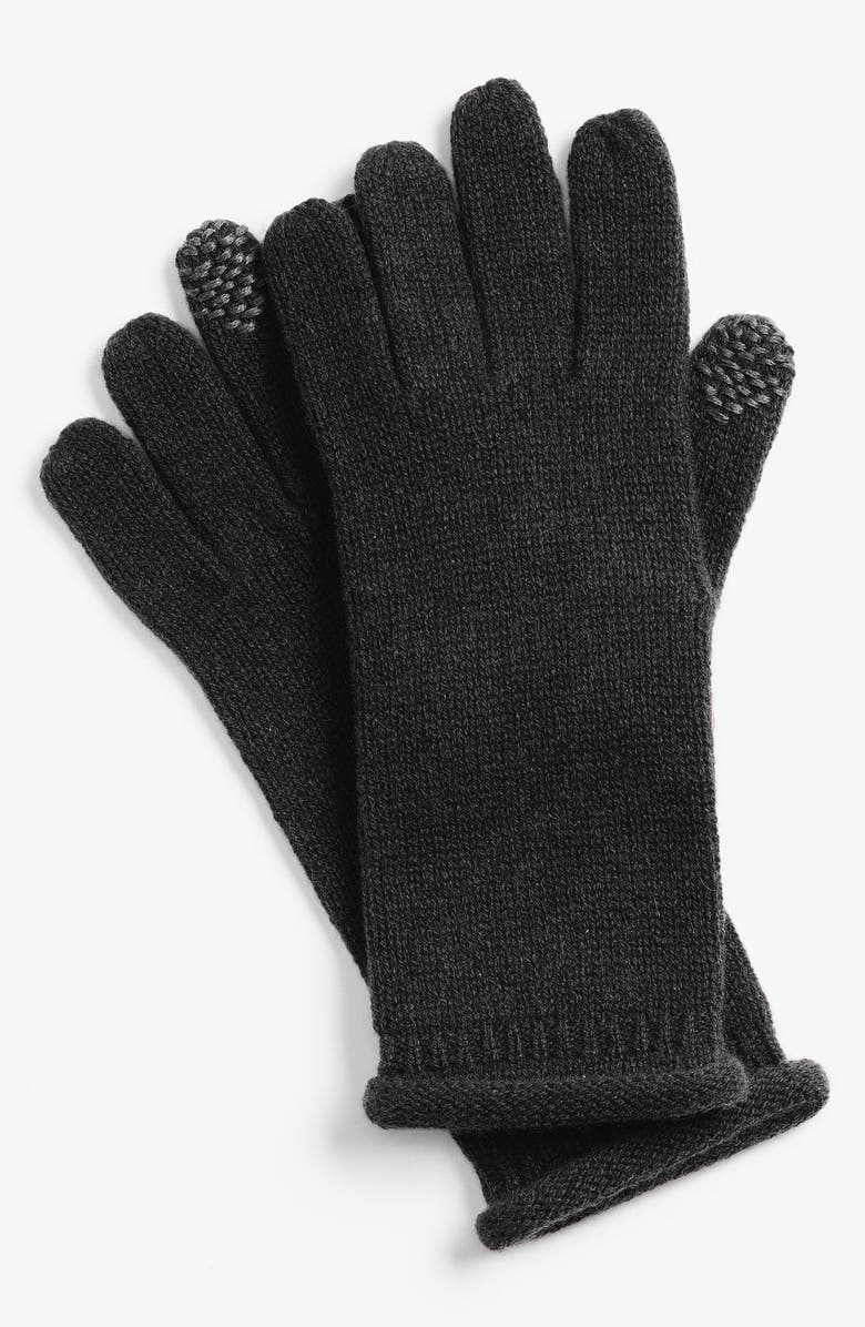 NORDSTROM Rolled Edge Cashmere Tech Gloves, Main, color, 001