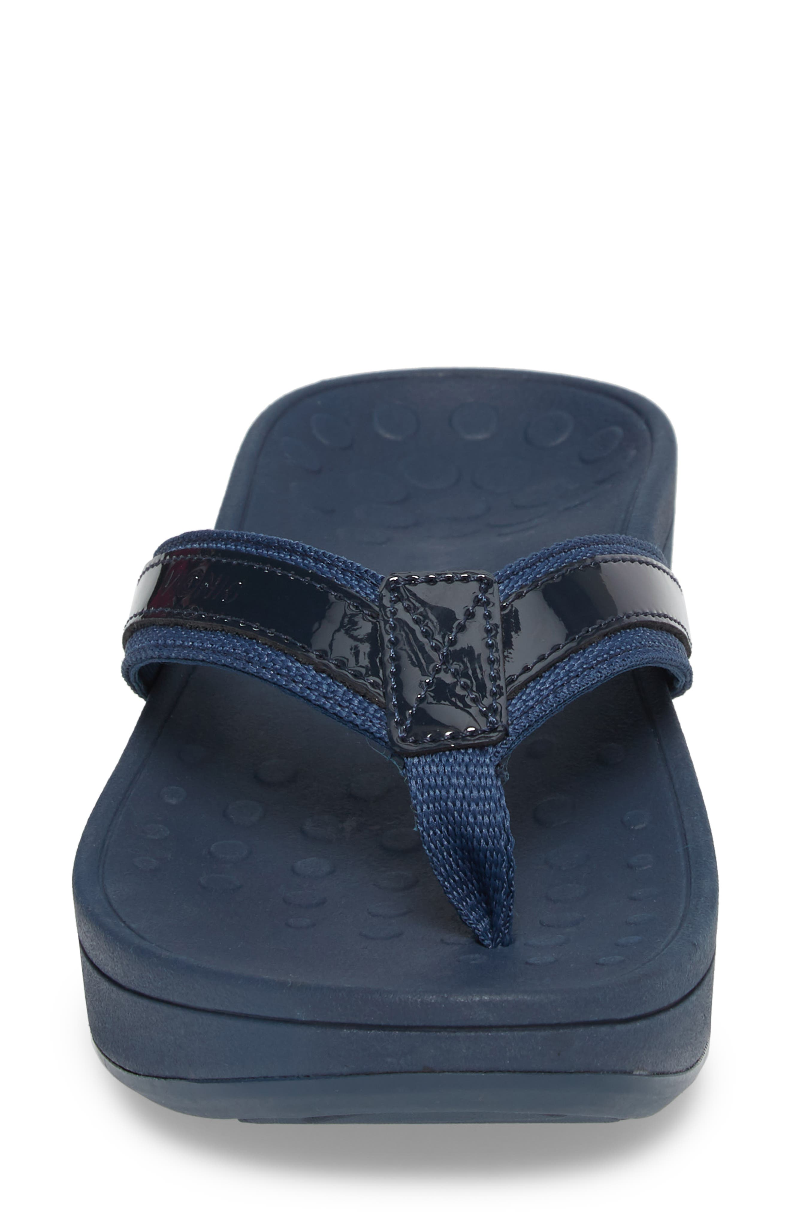 ,                             High Tide Wedge Flip Flop,                             Alternate thumbnail 4, color,                             NAVY TEXTILE LEATHER