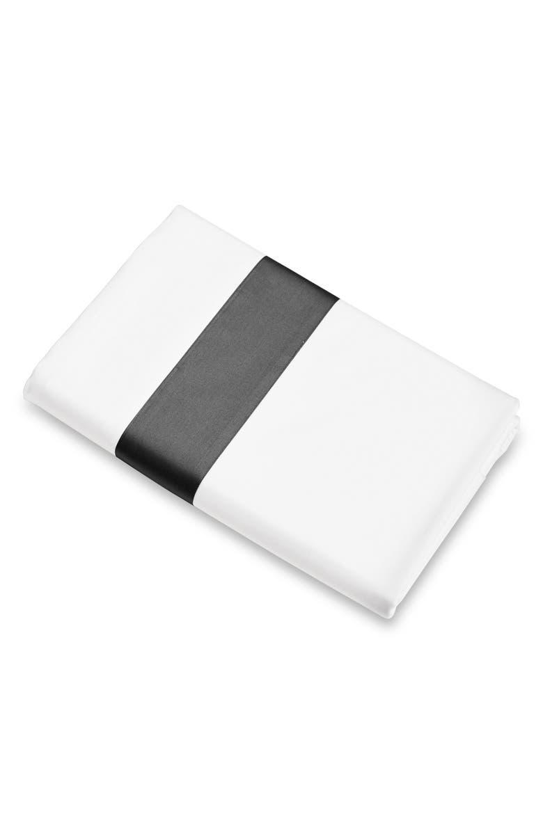 SIGNORIA FIRENZE Aida 300 Thread Count Flat Sheet, Main, color, WHITE/LEAD GREY