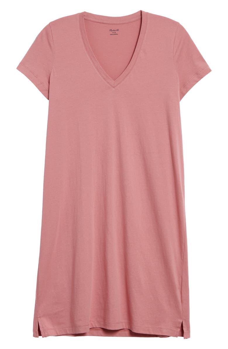 MADEWELL Northside V-Neck T-Shirt Dress, Main, color, 652