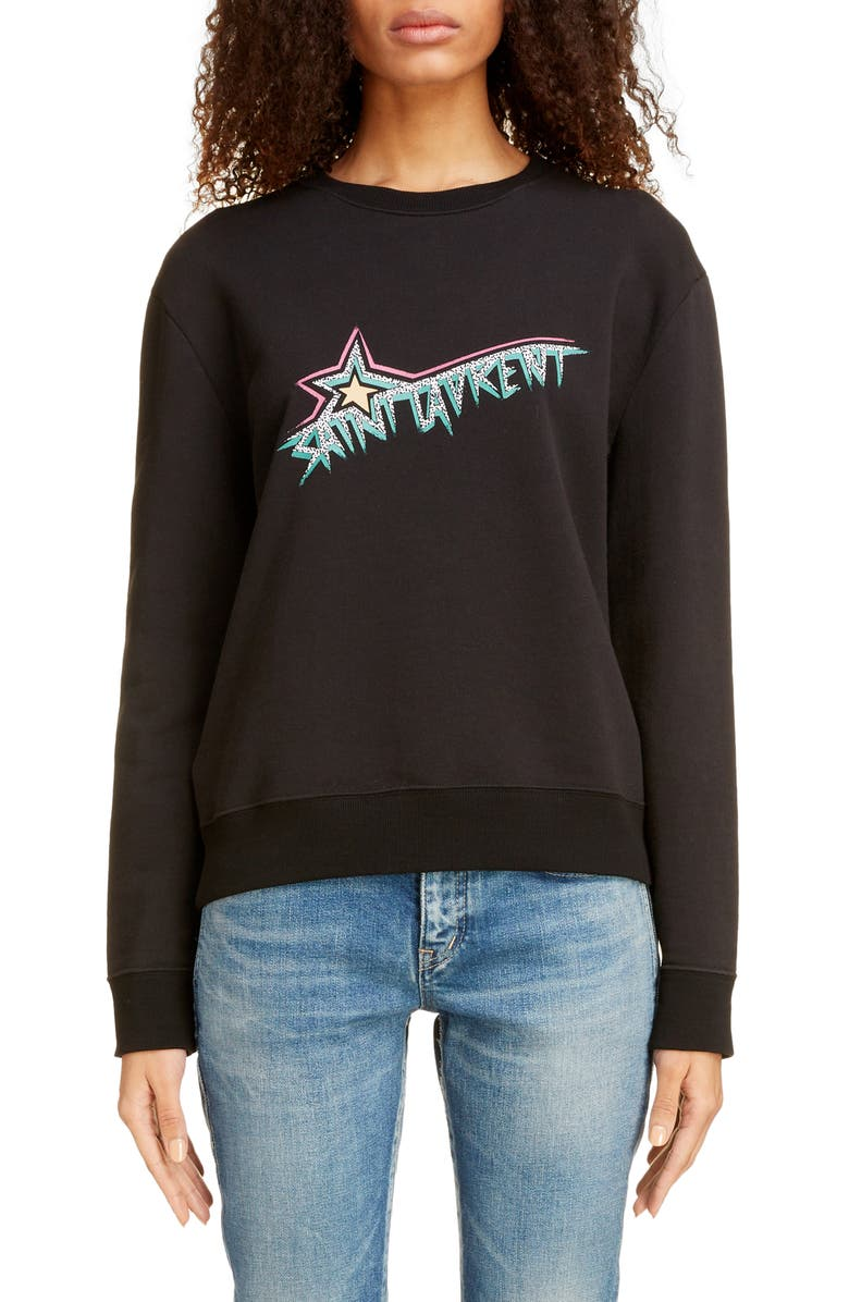 SAINT LAURENT Star Logo Sweatshirt, Main, color, NOIR/ MULTICOLORE