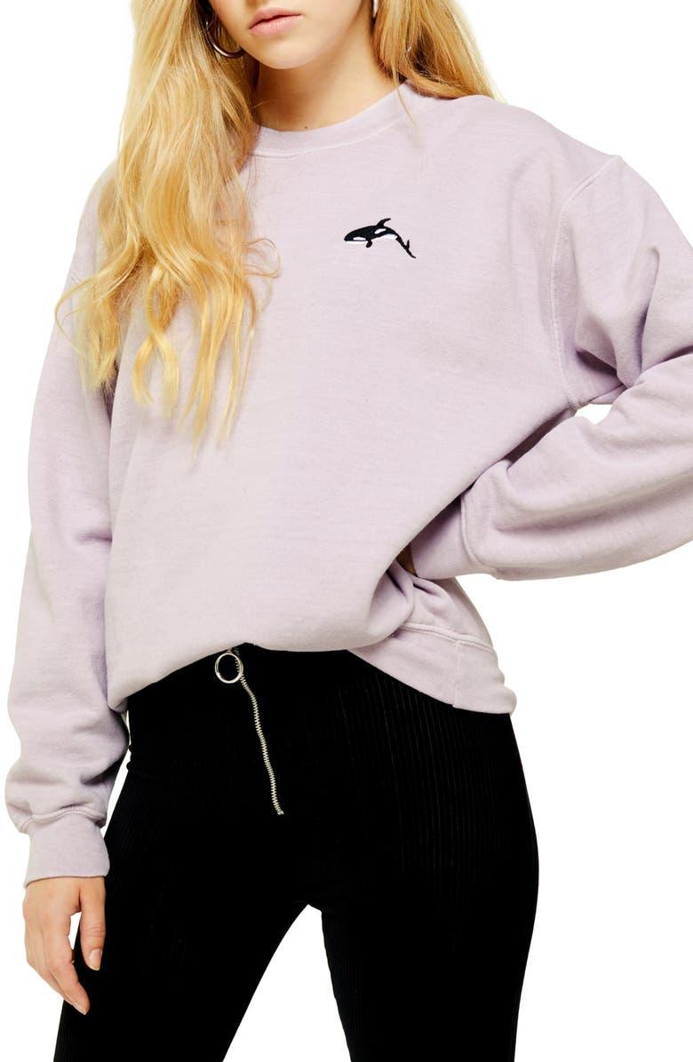 TOPSHOP Whale Emoji Sweatshirt, Main, color, 650